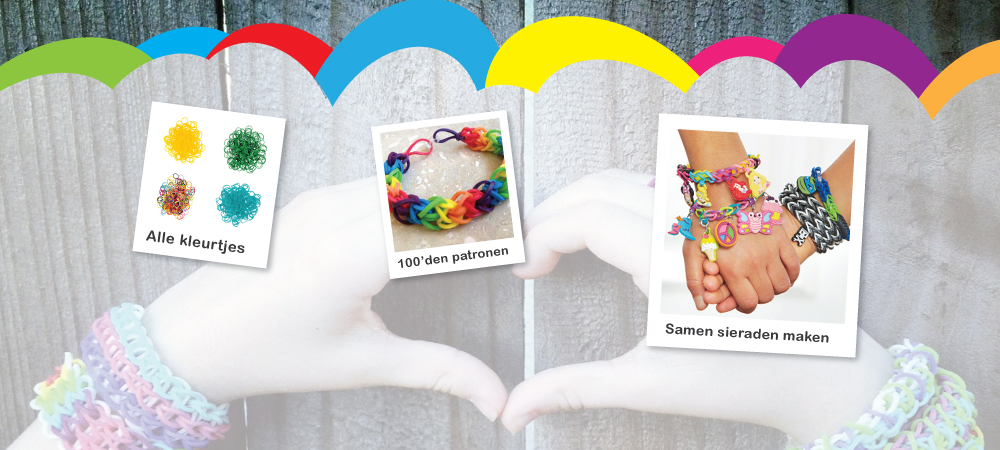 Rainbow loom van elastiekje tot armbandje en sieraad met de loomkit