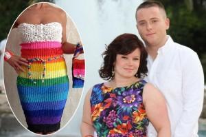 Bruid hoopt trouwfeest te betalen door het verkopen van een jurk gemaakt van Rainbow Loom elastiekjes